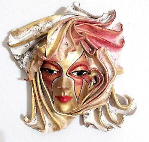 Runa - Maschera veneziana artigianale in cartapesta e cuoio - Pezzo unico