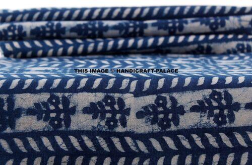5 Yard Indian 100/% Cotton Sanganeri Indigo Blue Printed Hand Block Print Fabric