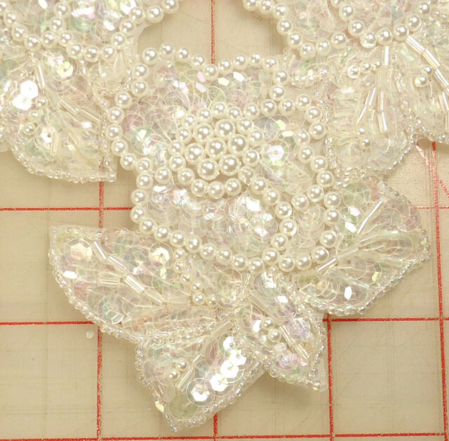 """Gorgeous applique with 5 pearl white flowers AB sequins leaves and petals 10""""x8"""""""