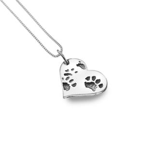 Sea Gems - Heart And Dog Paw Print Pendant