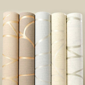 10M-Modern-Abstract-Shiny-Gold-Embossed-Flock-Textured-Non-Woven-Wallpaper-Roll