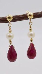 New 14k  Solid Yellow Gold Natural Ruby Teardrop drop Earrings 2.3gr