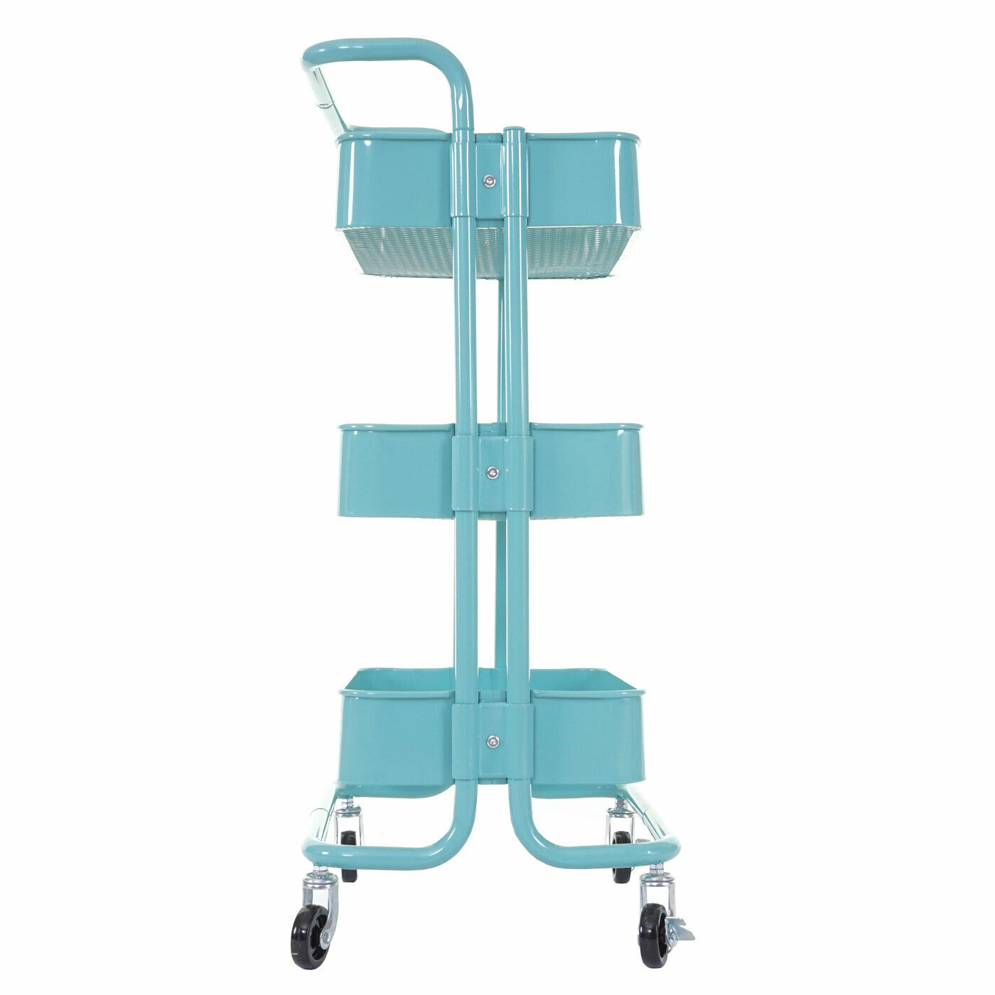 B-Ware Serving Trolley MCW-C64, Kitchen Trolley Bar Cart, Mint with Handle