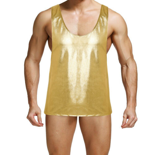 Men/'s Mesh T-Shirt Fishnet See-through Muscle Tank Top Undershirt Vest Clubwear