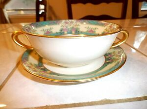 Lenox-Cream-Soup-Bowl-Cup-and-Saucer-MONTICELLO