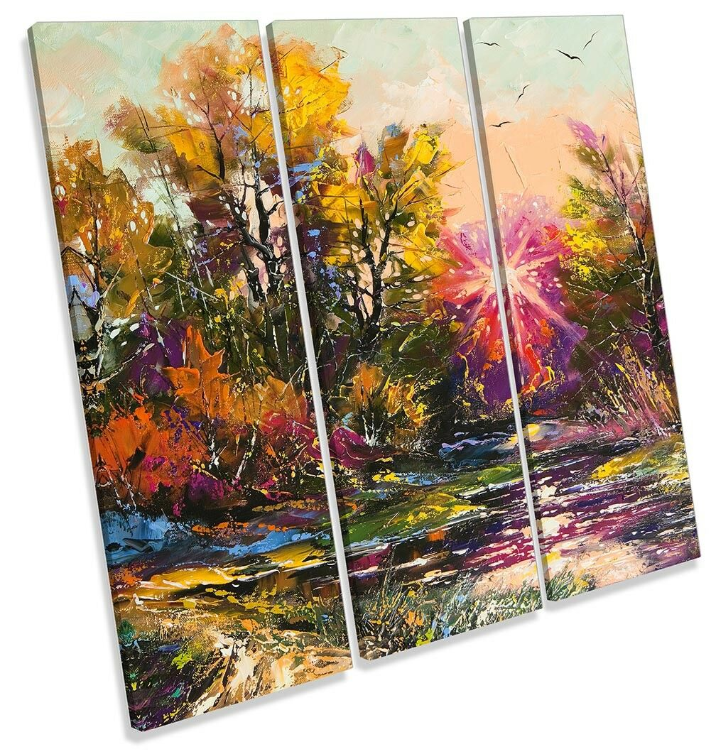 Autumn Forest Landscape Repro Repro Repro Framed TREBLE CANVAS PRINT Wall Art 0cd25d