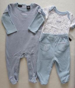 Calvin-Klein-Baby-Boy-3-6-Months-Sleeper-Bodysuit-Outfit-Set-Pants-Blue-NWT