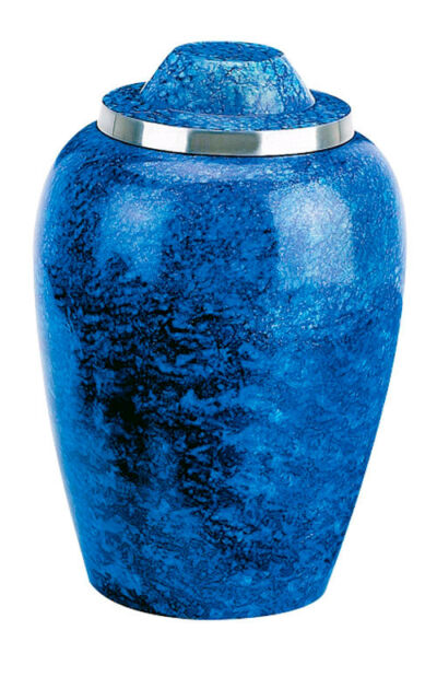 Blue Alloy Adult Funeral Cremation Urn W. Pouch, Other Sizes Available