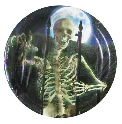 """Halloween Eerie Estate Skeleton 6 3//4/"""" Party Lot of 160 Disposable Paper Plates"""