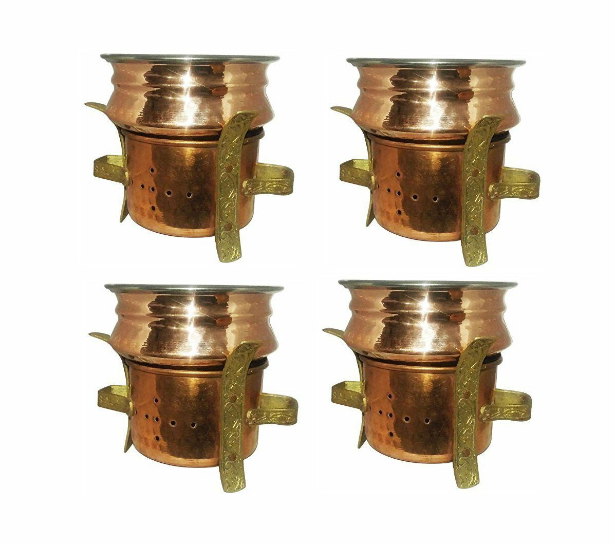 4 Pcs Set Copper Serving Handi Bowl Copper Angeethi Angithi Food Warmer Table
