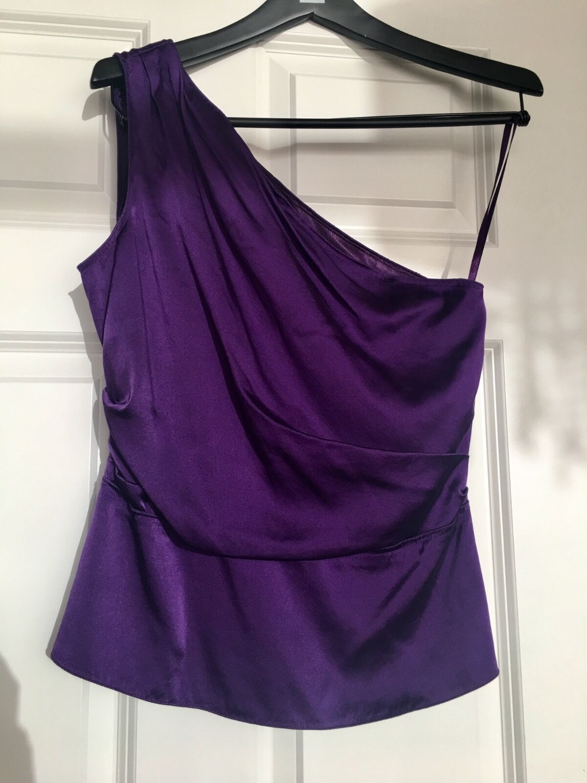 Elie Tahari Silk One Shoulder Top lila sz S