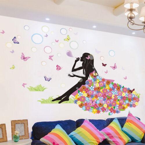 Removable Girl Flower Decals Vinyl Art Mural Wall Sticker Kids Girl Room Decor