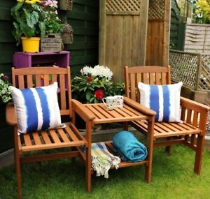 Wooden Companion Set Hardwood Garden Bench Table Corner Love Seat ...