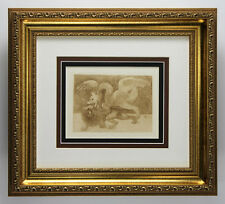 "Popular LEONARDO DA VINCI Antique 1800s Print ""Lion and Dragon Fight"" FRAMED COA"