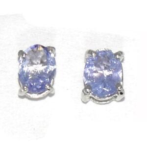 4X5-mm-Oval-Real-Tanzanite-Piedra-Preciosa-925-Plata-Esterlina-Aretes-Pendientes-Sher-0133
