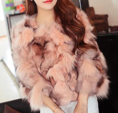 Women Fur Coat Warm Scoop Neck Short Slim Fit Formal Casual Plus Size Hip Length