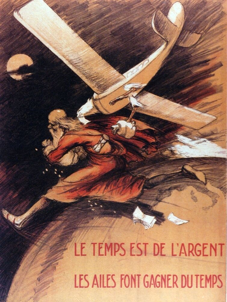 6382.Old man running from plane over globe.french plane..POSTER.Home Office art