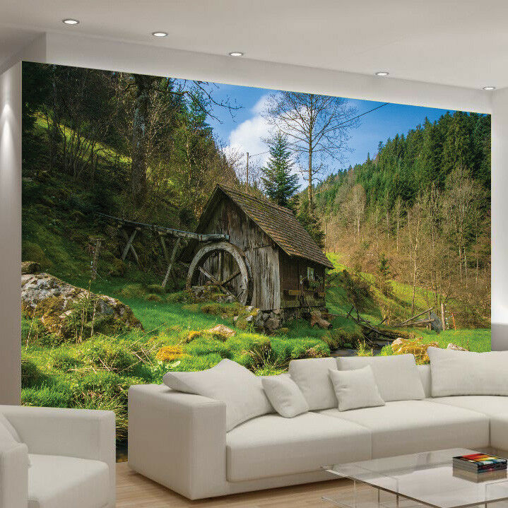 Tree Leaves Forest Photo Wallpaper Watermill Wall Mural Home Bedroom Decoration