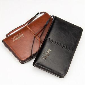 Business Men Leather Clutch Bag Handbag Wallet Purse Mobile Phone Card Holders