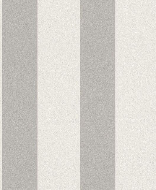 Rasch Prego 700251 Streifen Grau Weiß Vliestapete gestreift