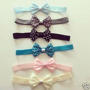 Baby-Headbands-Girls-Hair-bands-Newborn-Polka-Dot-5CM-Bow-Toddler-UK-Seller-Lot