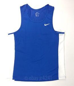 d891e23f511f New Nike Dry Miler Tank Men s Large Blue White Running Track 835873 ...