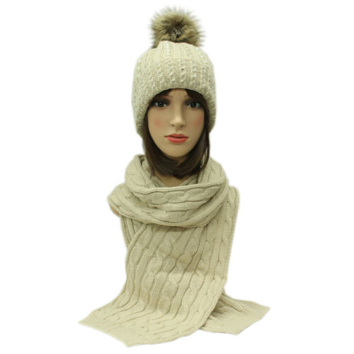 Scarf Set Hat Faux Fur Women Winter Pom And Knitted Girls Ladies Warm New Beanie