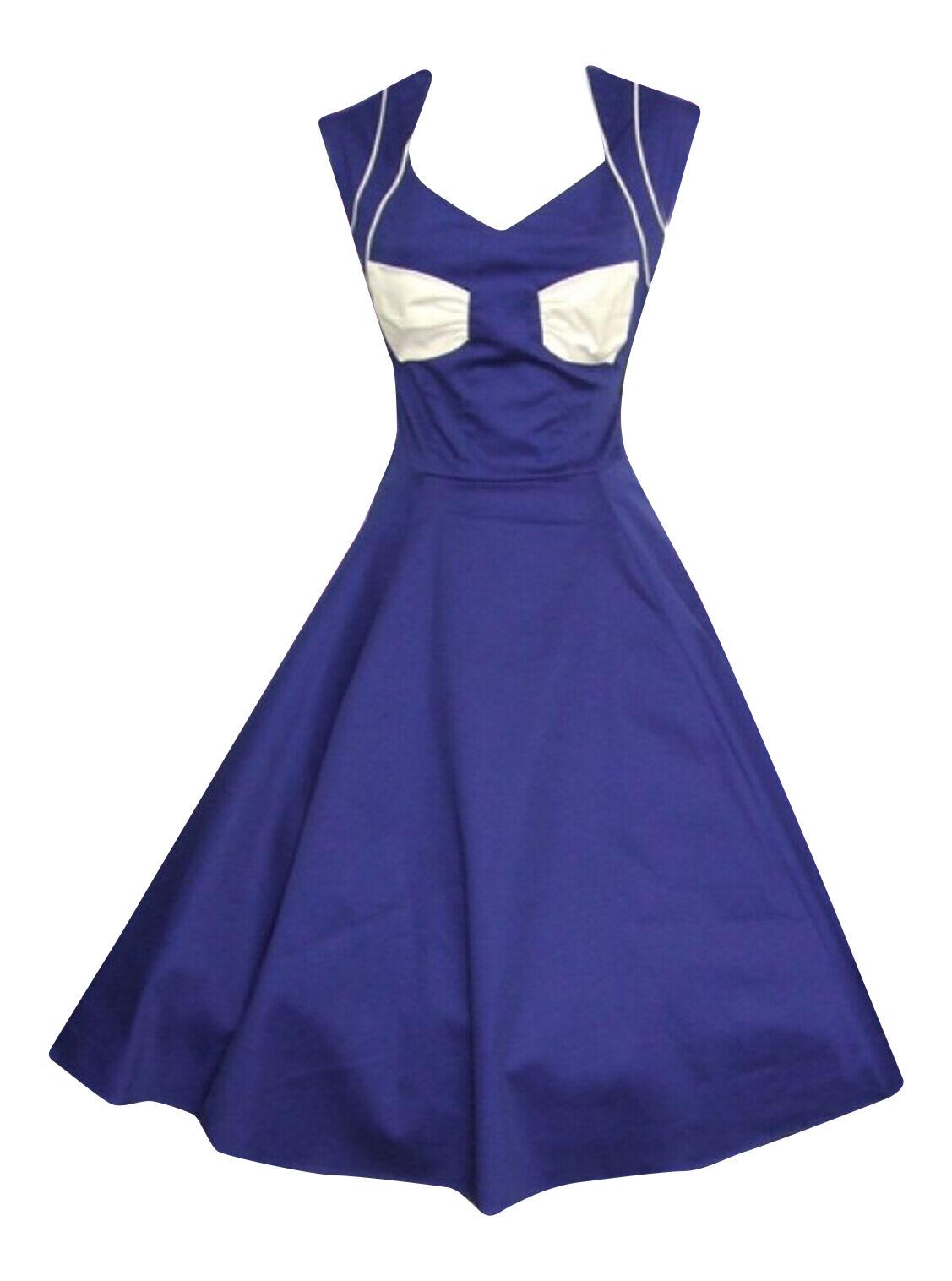 Da Donna Classico Anni'50 Anni'50 Anni'50 Blu Bianco con Fiocco Anteriore Rockabilly partito Prom Dress New 8 - 18 e95dd8