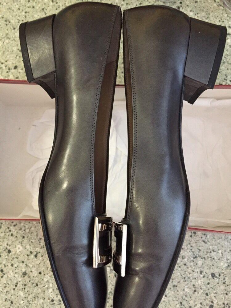 SALVATORE FERRAGAMO Gray Leder Classic Like Pump Schuhes 7 AA Like Classic Antracite c03a66