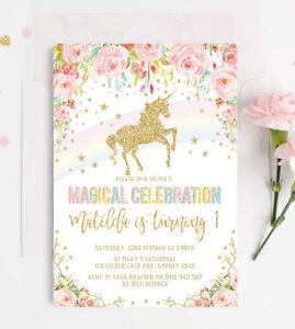 Image Is Loading Rainbow Unicorn Invitation Birthday Party Invite Floral Pink