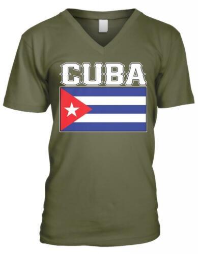 Cuba Text Flag Cuban Pride Orgullo Bandera Cubana Mens V-neck T-shirt