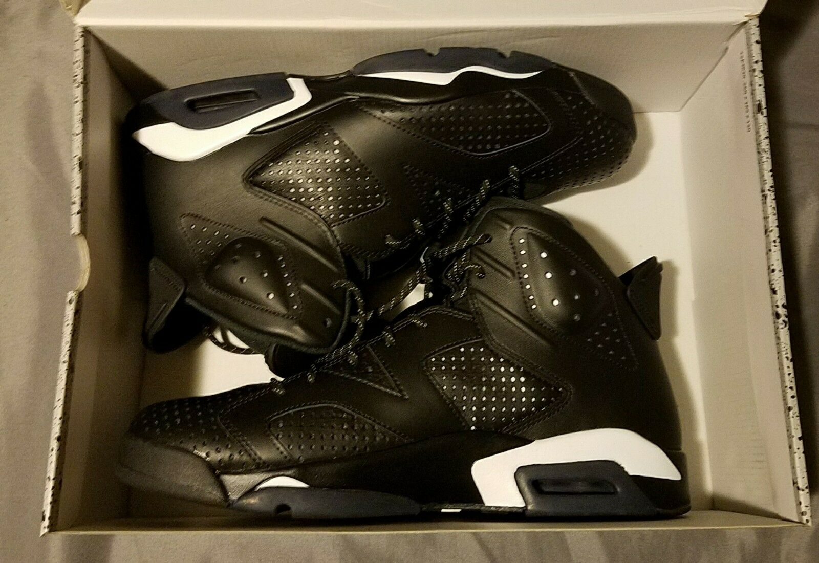 Air Jordan 6 Retro Black Cat Black Black White Mens Size 12 new