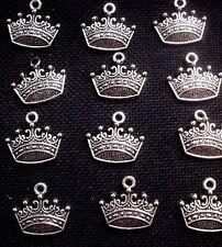 8 Royal Crown Charms Flat Silver Tone Metal 18mm x 15mm
