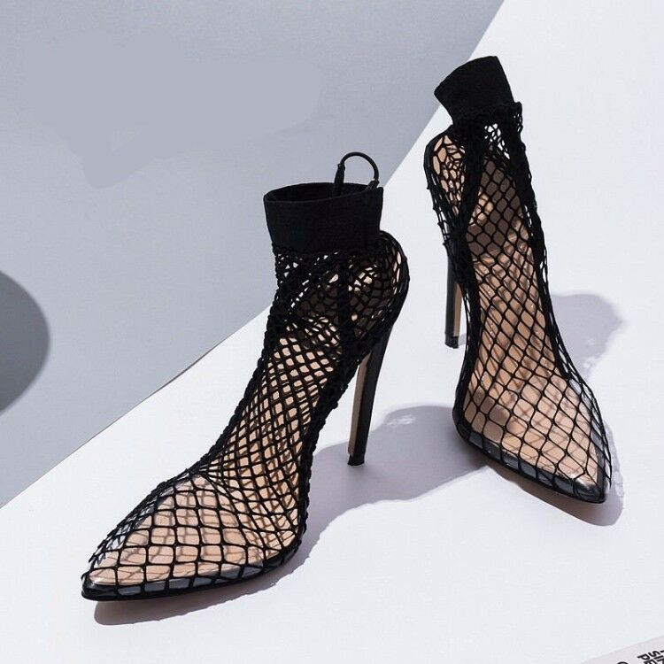 Donna Pointed Toe Mesh Sexy Summer Mid Calf stivali Slim Slim Slim High Heel Slip On scarpe 317ec2