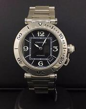 Cartier Pasha 38mm Stainless Steel Roating Bezel Black Dial Automatic W/Date