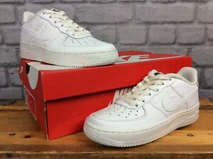 NIKE-UK-3-EU-35-5-WHITE-AIR-FORCE-1-REPTILE-LEATHER-TRAINERS-LADIES-CHILDRENS