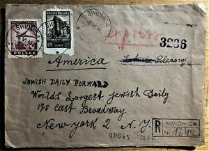 SWIDNICA-COVER-GERMANY-to-POLAND-in-1945-to-JEWISH-DAILY-FORWARD-DATED-1946