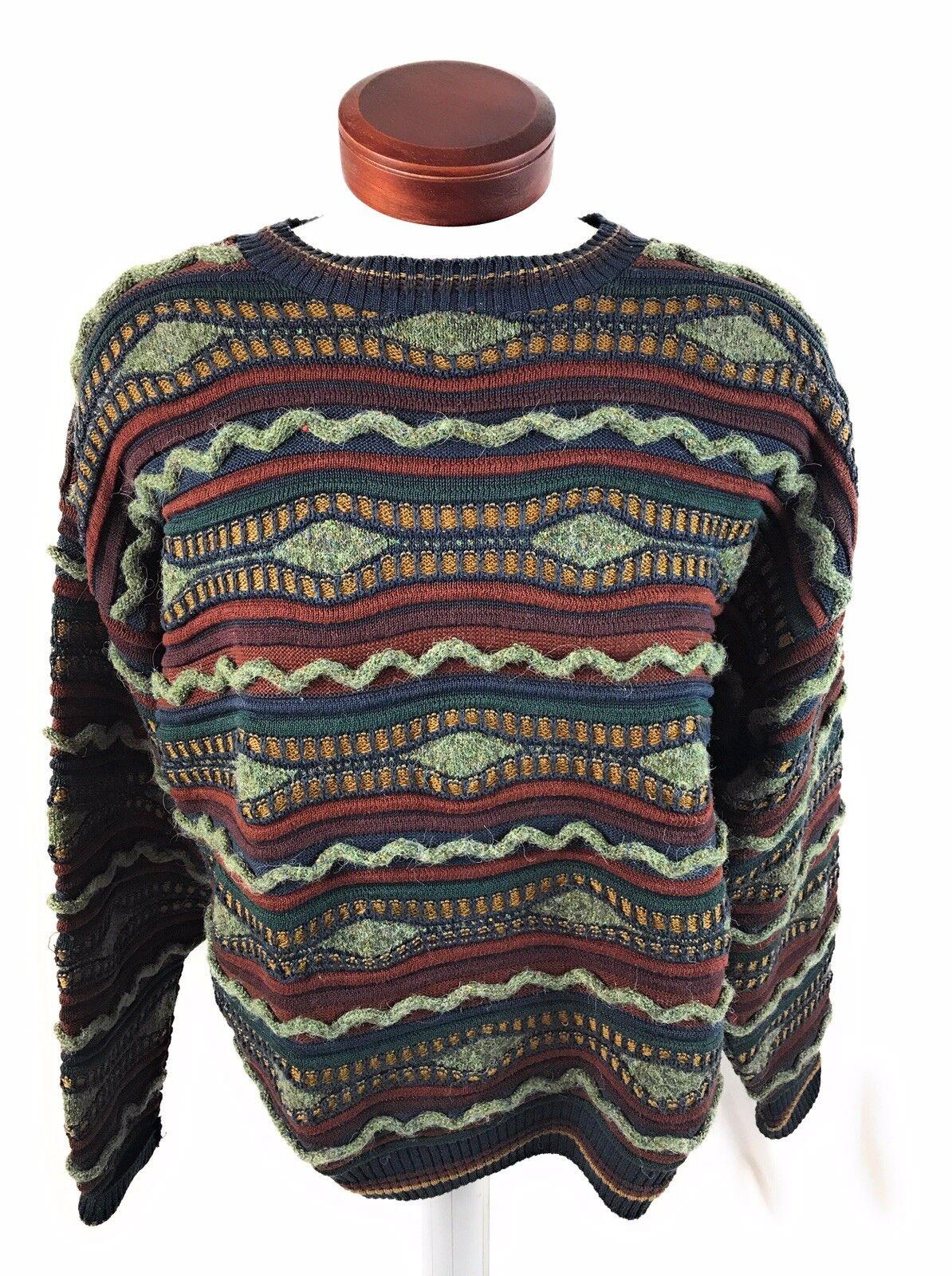 Linda Larsen Essay Uomo's Multicolor 3D 3D 3D Coogi Style Lana Alpaca Sweater XL ac8f6f