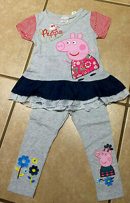 NWT Cute Peppa Pig Hearts Dots Navy Capri Length Leggings Sizes 2//3 or 4//5