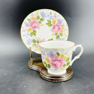 Vintage-Crown-Trent-Staffordshire-England-Tea-Cup-amp-Saucer-Bone-China-Flowers