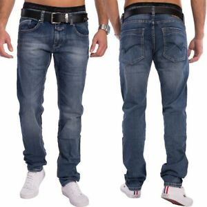 Herren-Slim-Fit-Jeans-Tapered-Denim-dunkelblau-Jeanshose-Hose-stretch