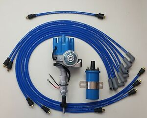 45K COIL+8.5mm WIRES OVER VALVE COVER CHEVY 327 350 SMALL BLUE HEI DISTRIBUTOR