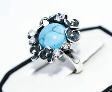 925 STERLING SILVER HANDMADE RING WITH BLUE TURQUOISE AND ZIRCON SIZE UK-N/ US-7