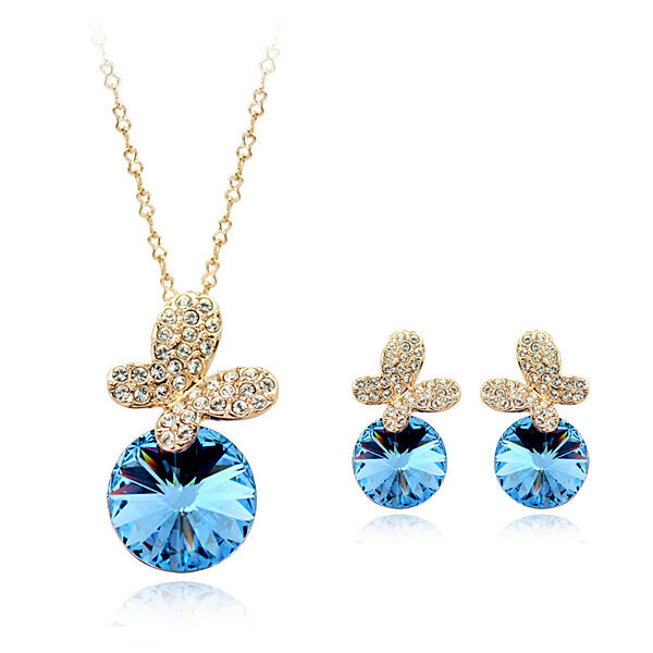 18k Rose G/p Cz & Austrian Crystal Turquoise Butterfly Necklace & Earring Set