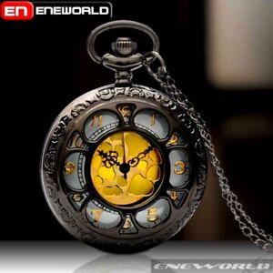 Vintage-Gold-Dial-Quartz-Retro-Pocket-Watch-Necklace-Chain-Pendant-Antique-Mens