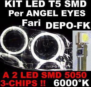 20-Lampadine-LED-T5-SMD-3-CHIPS-BIANCO-ricambi-per-Fari-ANGEL-EYES-DEPO-FK-6000K