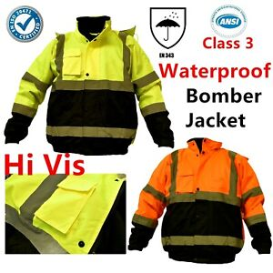 Hi-Vis-Waterproof-Class-3-Insulated-Heavy-Duty-Winter-Safety-Bomber-Jacket-Coat