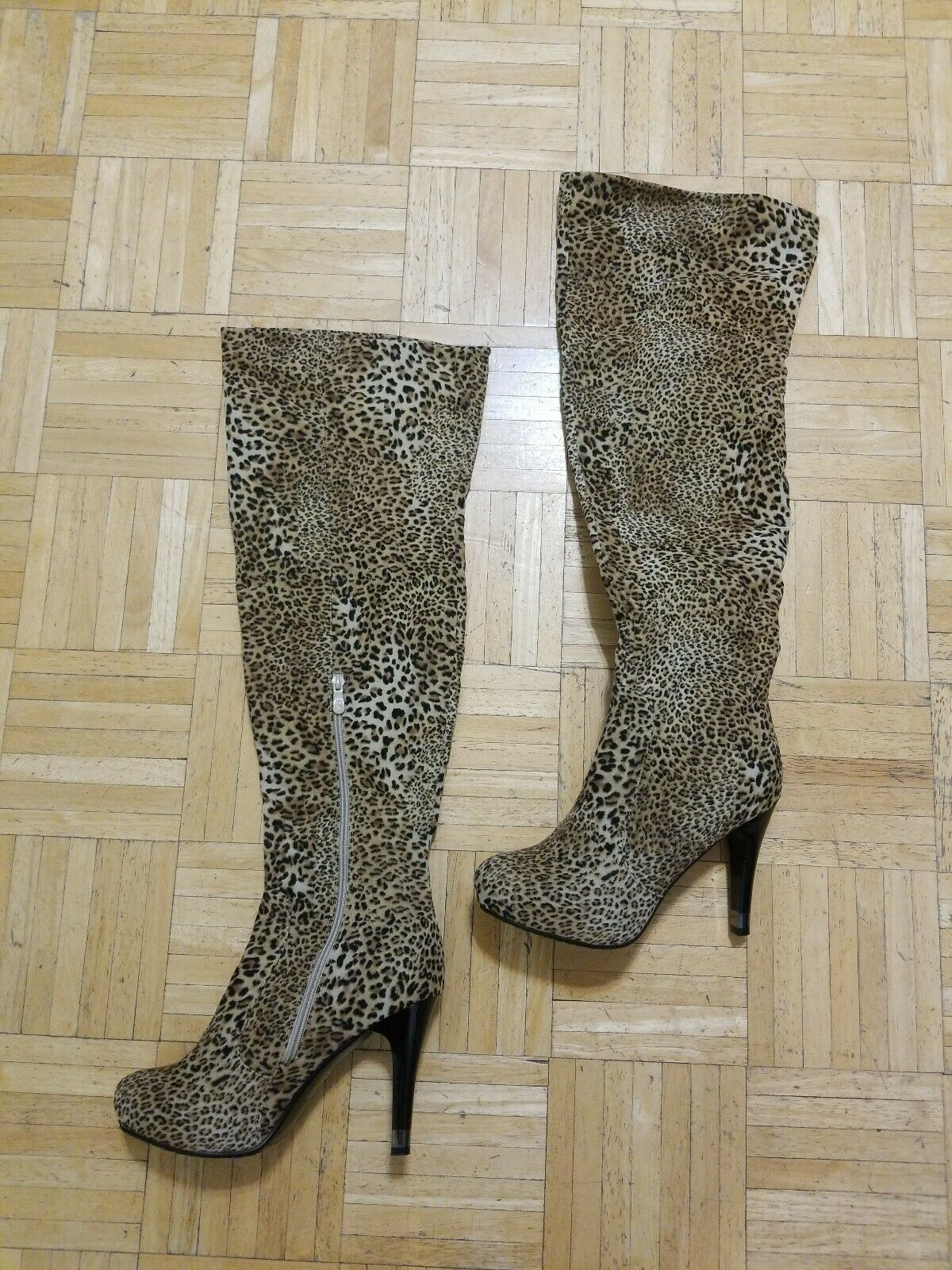 MONROE & MAIN LEOPARD PRINT STILETTO OVER-THE-KNEE BOOTS SIZE 9.5 NEW