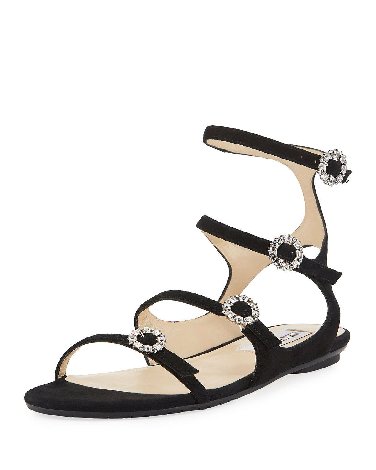 Jimmy Jimmy Jimmy Choo Naia Suede Flat Sandal with Crystal Buckles, Black 37.5 MSRP   695 d1c9e1