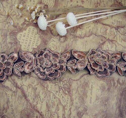 1 Yd environ 0.91 m Métallique CORDON Dentelle Broderie Ruban Fleur Serre-tête À faire soi-même Couture
